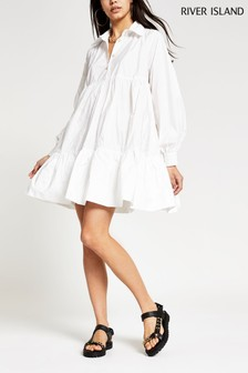 River Island White Long Sleeve Babydoll Shirt Mini Dress