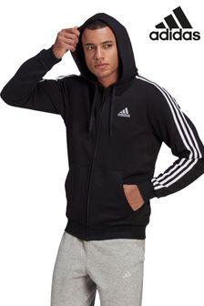 adidas 3 Stripe Fleece Zip Through Hoodie