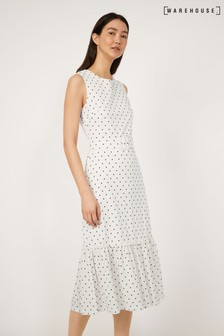 Warehouse Natural Spot Pique Sleeveless Dress