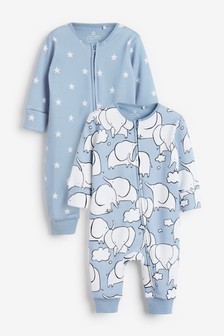 2 Pack Elephant Zip Sleepsuits (0mths-3yrs)