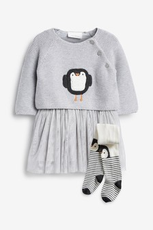 Knit Penguin Tutu Dress And Tights Set (0mths-2yrs)