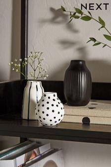 Set of 3 Black/White Small Ceramic Vases