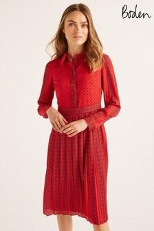 Boden Red Clemency Shirt Dress