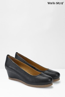 White Stuff Black Issy Leather Wedge Shoes
