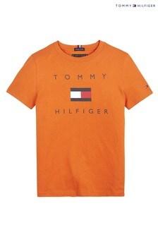 Tommy Hilfiger Orange Flag Logo T-Shirt