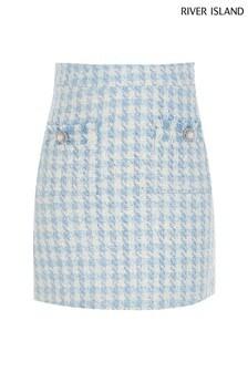 River Island Blue Boucle Skirt