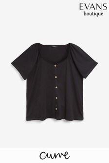 חולצה עם צווארון מרובע ועיטור כפתורים למידות גדולות של Evans בשחור