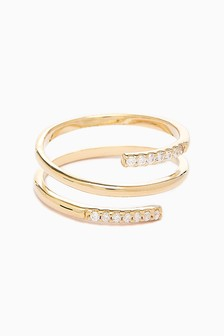 18ct Gold Plated Pave Ladder Ring