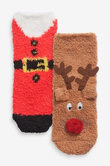 2 Pack Cosy Christmas Socks (Younger)