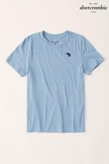 Modré textúrované tričko Abercrombie & Fitch s logom