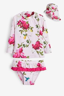 Baker by Ted Baker Baby Girls Floral 3 Piece Swimsuit Set