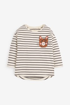 Long Sleeve Leopard Pocket T-Shirt (3mths-7yrs)