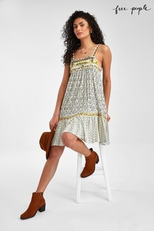 Free People White Tapestry Print Dress