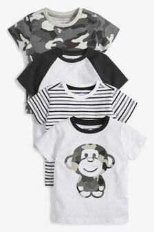 Maskáčové tričko s aplikáciou opice, 4 ks (3 mes. – 7 rok.)