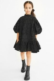Strukturiertes Baumwoll-Kleid (3-16yrs)