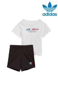 طقم تي شيرت وشورت أبيض من adidas Originals Infant