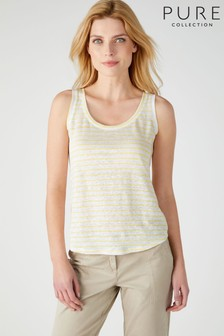 Pure Collection Yellow Luxury Linen Jersey Vest