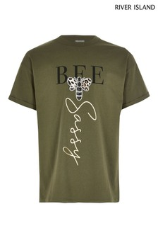 Zelené tričko s nápisom Bee River Island