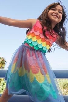 Boden Pink Rainbow Mermaid Jersey Dress