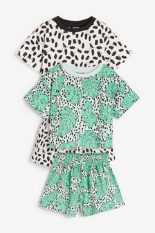2 Pack Leaf Cotton Pyjamas With Paperbag Shorts And Boxy Top (9mths-16yrs)
