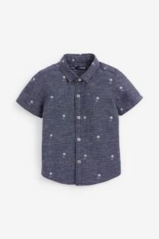 Рубашка с короткими рукавами и вышивкой  (3 мес.-7 лет)
