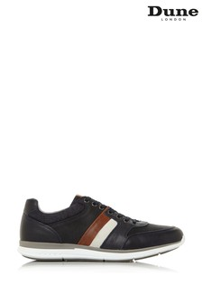Dune London Token Brown Leather Stripe Elastic Lace-Up Shoes