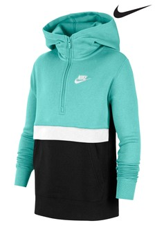Худи цвета морской волны с воротом на молнии Nike Club