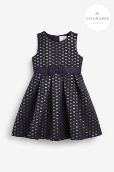 שמלת ג'קארד שלCharabia בצבע כחול כהה עם פפיון
