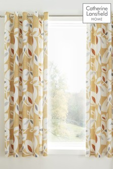 Catherine Lansfield Inga Leaf Eyelet Curtains