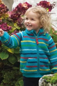 Frugi Recycled Cosy Teal Rainbow Stripe Fleece