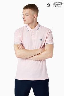 Original Penguin® Pink Short Sleeved Sticker Pete Pique Poloshirt