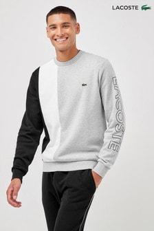 Lacoste®灰色/白色/黑色塊狀圓領運動衫