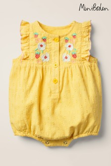 Boden Yellow Frill Sleeve Romper
