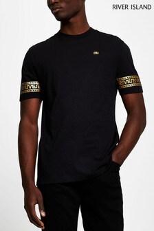 River Island Black Mono Greek Sleeve Print T-Shirt