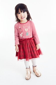 Платье в шотландскую клетку с рождественским рисунком (3 мес.-7 лет)