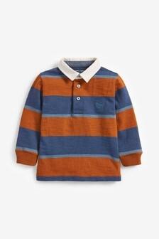 Трикотажная рубашка поло в полоску с длинными рукавами и текстильным воротничком (3 мес.-7 лет)