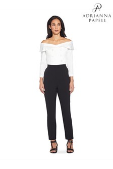 Adrianna Papell Black Crepe Slim Trousers
