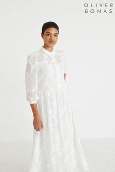 Oliver Bonas White Interest Maxi Shirt Dress
