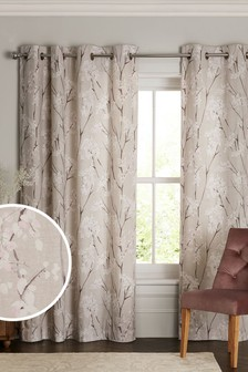 Pretty Blossom Print Eyelet Curtains