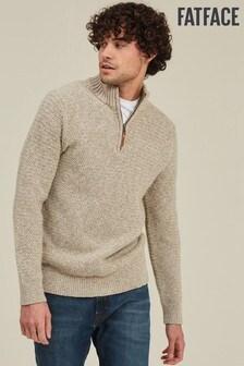 FatFace moutkleurige Burgess trui met halfhoge kraag