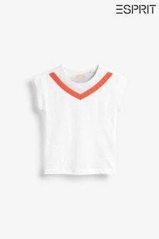 Biele trblietavé tričko so sieťovinou Esprit
