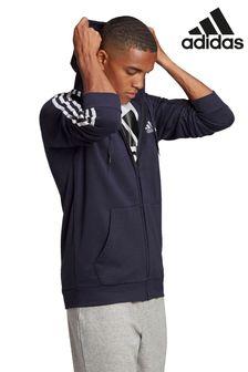 adidas 3條紋抓絨拉鍊連帽上衣
