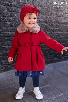 Monsoon Red Baby Bow Coat
