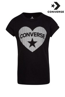 Converse Junior Sequin Heart T-Shirt