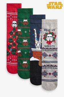 عبوة أربع أزواج جوارب بنقوش عيد الميلاد Stormtrooper Star Wars™