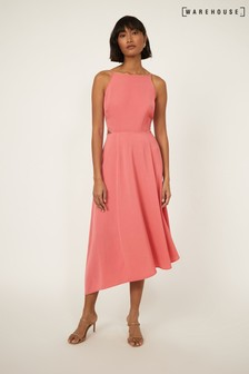 Warehouse Pink Side Cut Out Midi Dress