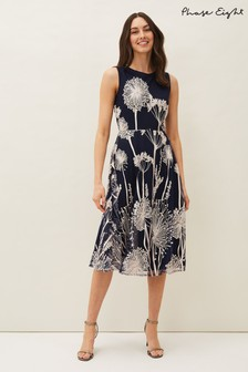 שמלה פרחונית בגזרה מתרחבת של Phase Eight דגם Franchesca בכחול