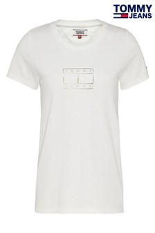 Tommy Jeans White Metallic Flag T-Shirt