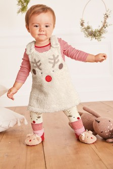 Reindeer 3 Piece Borg Pinafore, Bodysuit And Tights Set (0mths-3yrs)