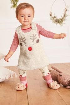 סט סרפן, בגד גוף וטייצים Reindeer Borg (0 חודשים עד גיל 3)